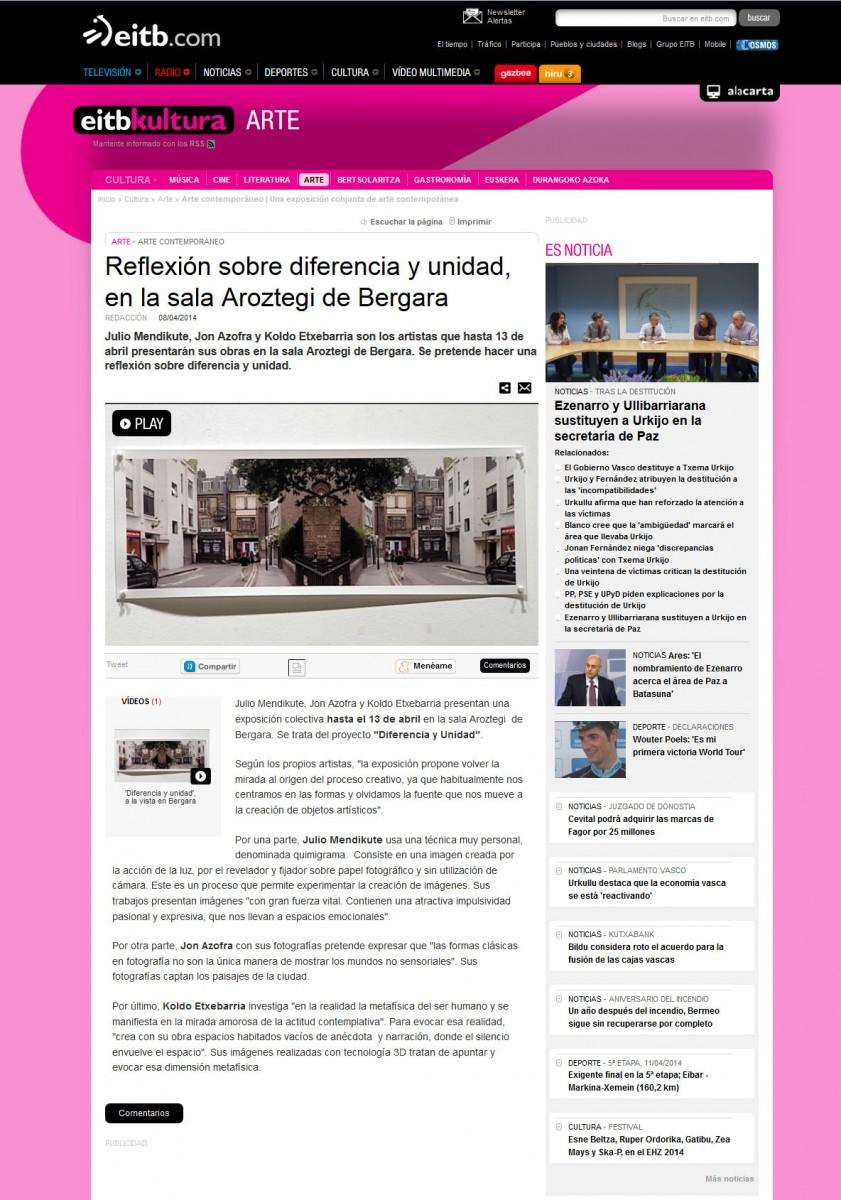 exposición DIFERENCIA Y UNIDAD. noticia en etb.com