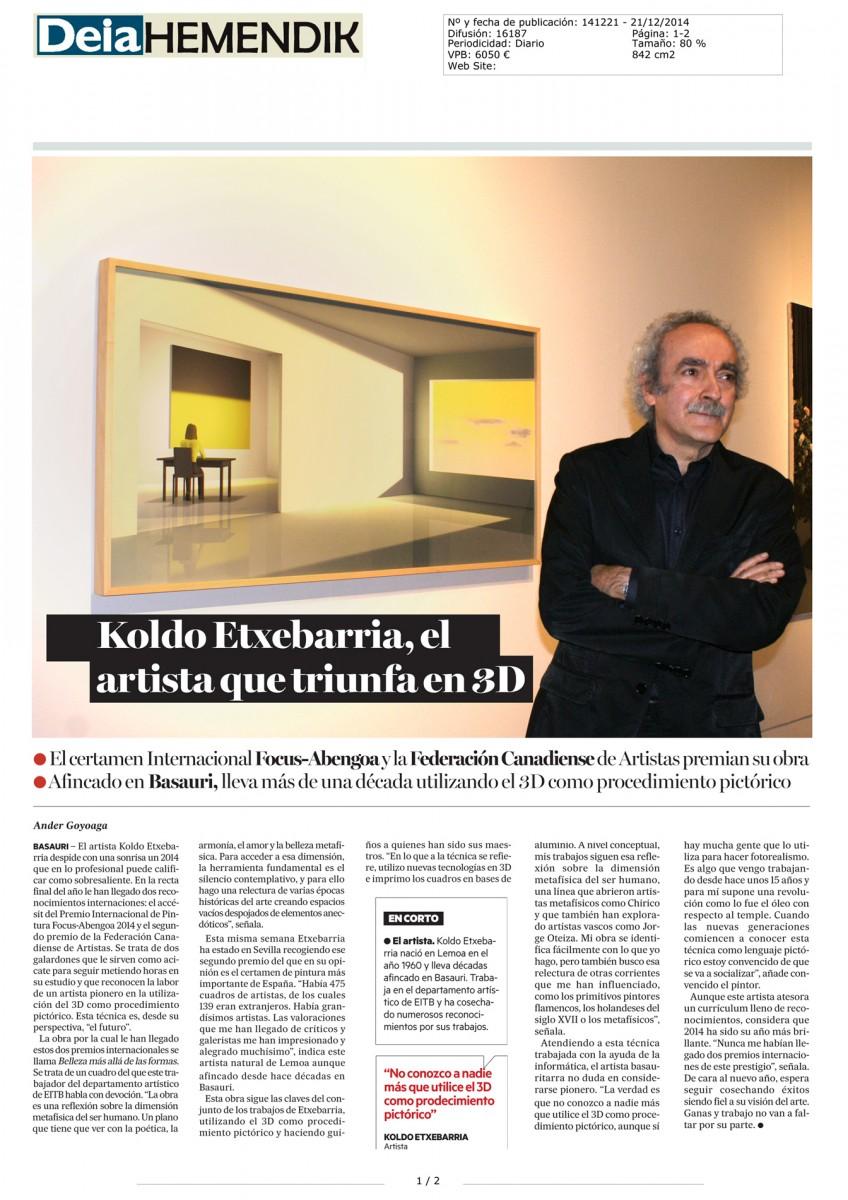 Diario Deia Premio Focus Abengoa a Koldo Etxebarria
