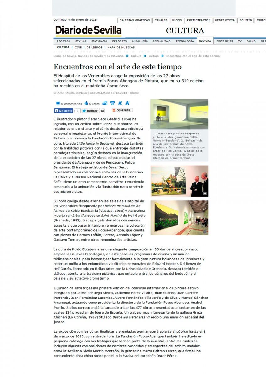 Diario de Sevilla Premio Focus Abengoa a Koldo Etxebarria. Koldo Etxebarria ha adquirido un premio